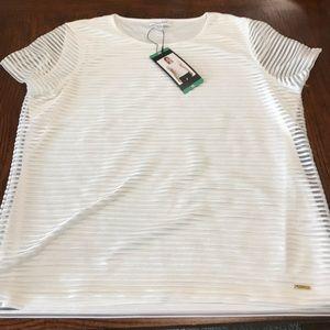 Calvin Klein short sleeve blouse size xl ivory